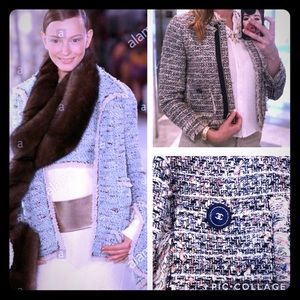 J Crew tweed blazer with custom CHANEL buttons - 4